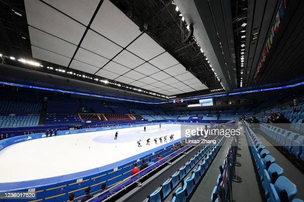 Skaters competes in the Ladies 1500m quarterfinals during the 2021/2022 ISU World Cup Short Track test event for the Beijing 2022 Winter Olympics at...
