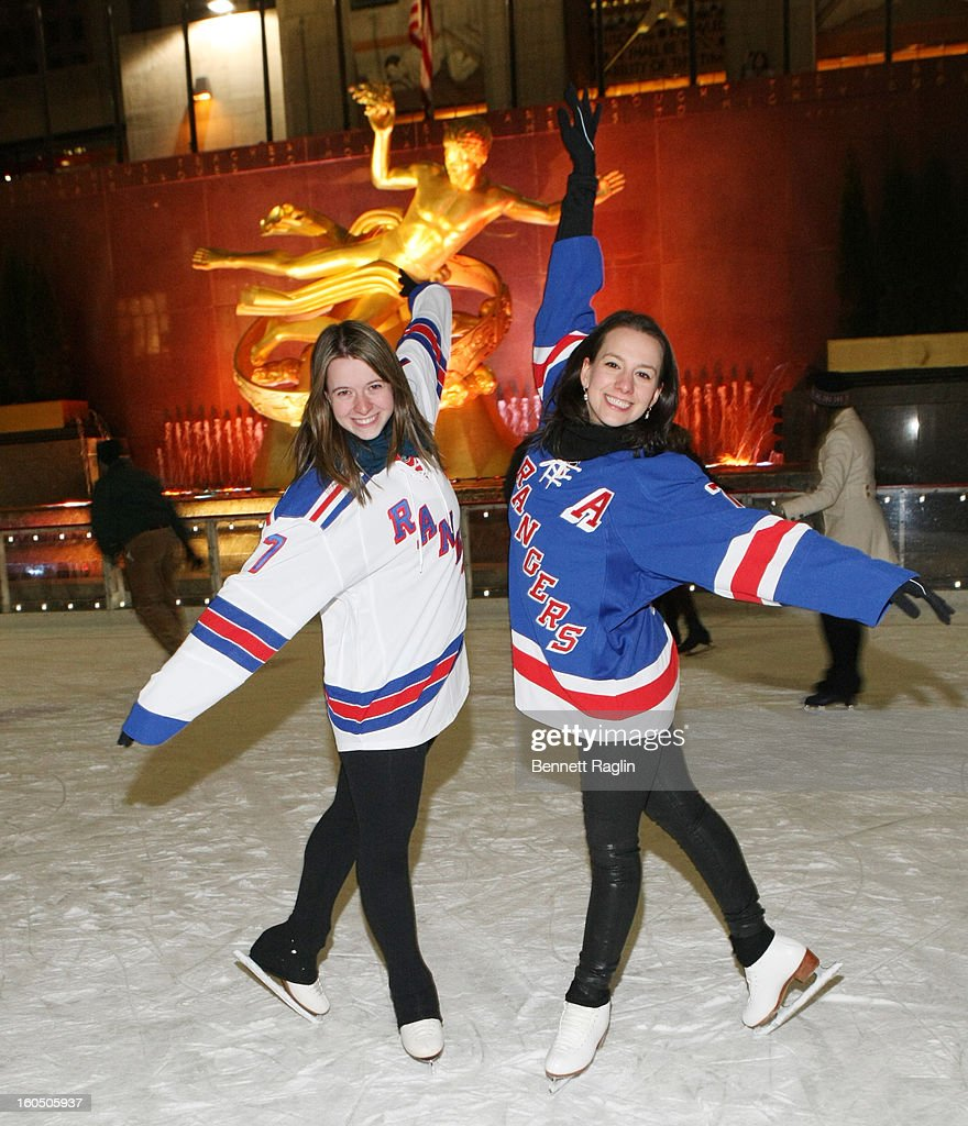Skaters Emily Hughes and Sarah Hughes attend The New York Rangers 19th Annual 'Skate With The Greats' Event Benefiting The Ronald McDonald House New York at The Rink at Rockefeller Center on February 1, 2013 in New York City.