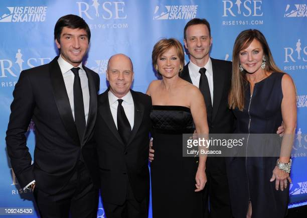 Skaters Evan Lysacek Scott Hamilton Dorothy Hamill Brian Boitano and Peggy Fleming attend the New York premiere Of RISE at Best Buy Theater on...