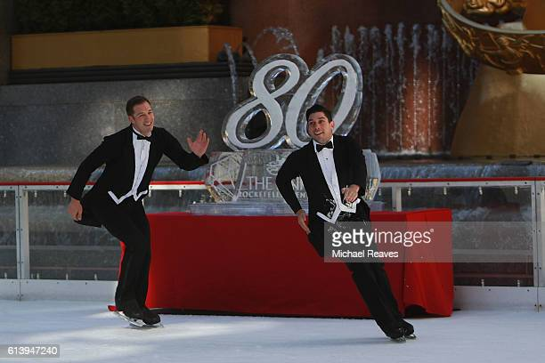 Skaters from Ice Dance International perform 'The Three Smokers' at The Rink at Rockefeller Center on October 11 2016 in New York City The iconic ice...