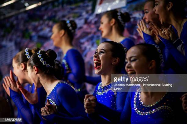 Skaters from team Junost Junior of Russia react in the Free Skating during day two of the ISU World Junior Synchronized Skating Championships...