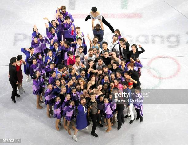 Skaters gather for selfie after the Figure Skating Gala Exhibition on day sixteen of the PyeongChang Winter Olympic Games at Gangneung Ice Arena on...