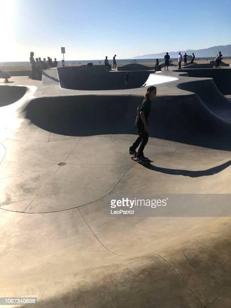 Skaters in Venice Beach skatepark - Los Angeles - USA