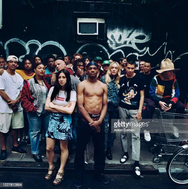 Skaters Javier Nunez and Tyshawn Lyons, model Paloma Elsesser, Jen Brill, skater Tyshawn Jones, actor Chloe Sevigny, skaters Sean Pablo Murphy and...