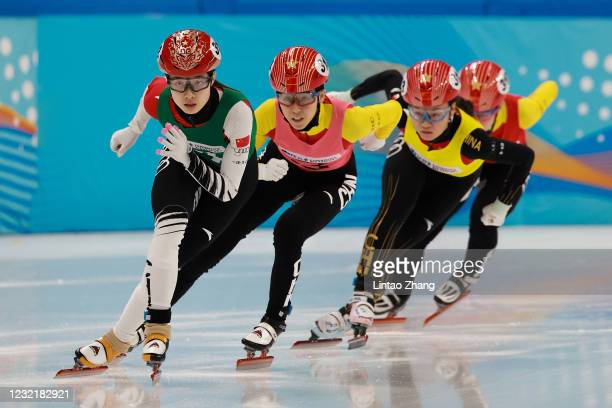 Skaters of Capital Indoor Stadium team compete during the Short Track Speed Skating Women's 500m test event for the Beijing 2022 Winter Olympics at...