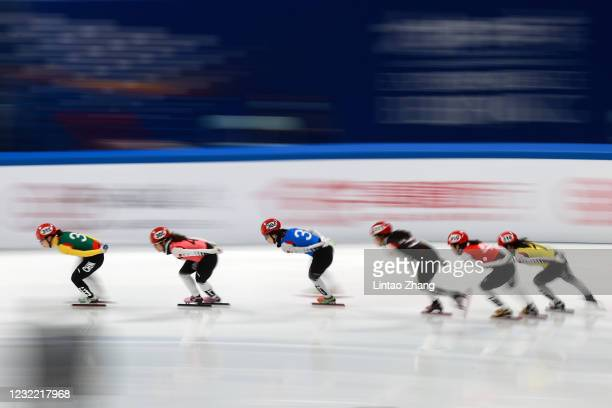 Skaters of Capital Indoor Stadium team compete during the Short Track Speed Skating Women's 1500m Final test event for the Beijing 2022 Winter...