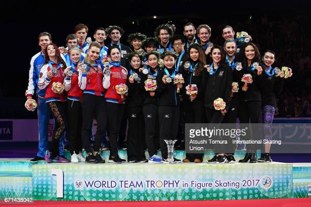 Skaters of Russia Japan and the USA pose on the podium during the 3rd day of the ISU World Team Trophy 2017on April 22 2017 in Tokyo Japan