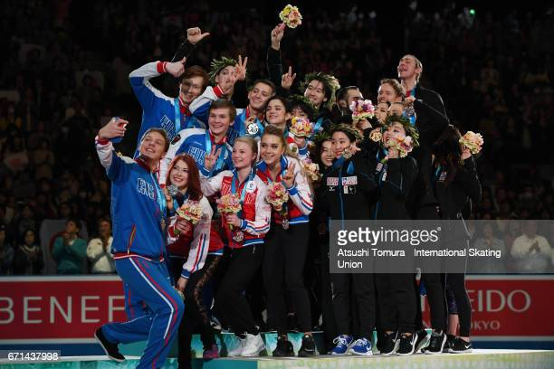 Skaters of Russia Japan and the USA takes selfie photographs on the podium during the 3rd day of the ISU World Team Trophy 2017on April 22 2017 in...