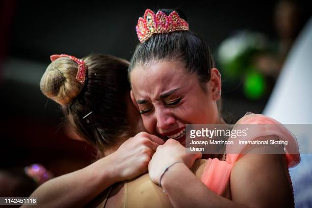 Skaters of team Paradise of Russia react after the Free Skating during day two of the ISU World Synchronized Skating Championships at Helsinki Arena...