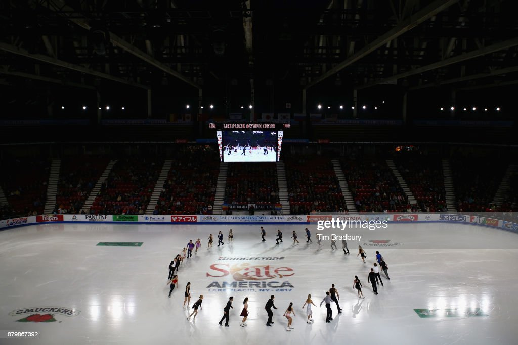 Skaters perform in the Smucker's Skating Spectacular during day three of 2017 Bridgestone Skate America at Herb Brooks Arena on November 26, 2017 in Lake Placid, New York.