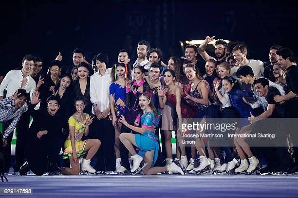 Skaters pose during Gala Exhibition on day four of the ISU Junior and Senior Grand Prix of Figure Skating Final at Palais Omnisports on December 11...