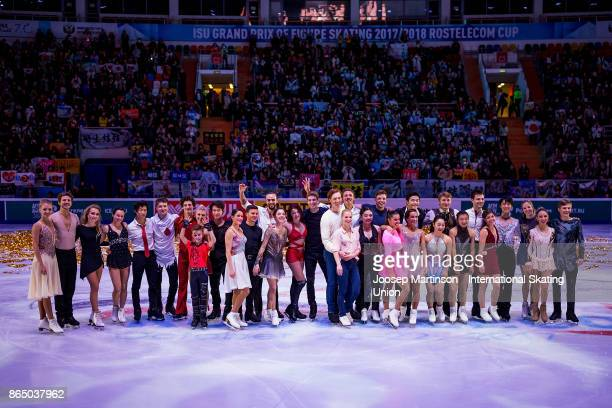 Skaters pose in the Gala Exhibition during day three of the ISU Grand Prix of Figure Skating Rostelecom Cup at Ice Palace Megasport on October 22...