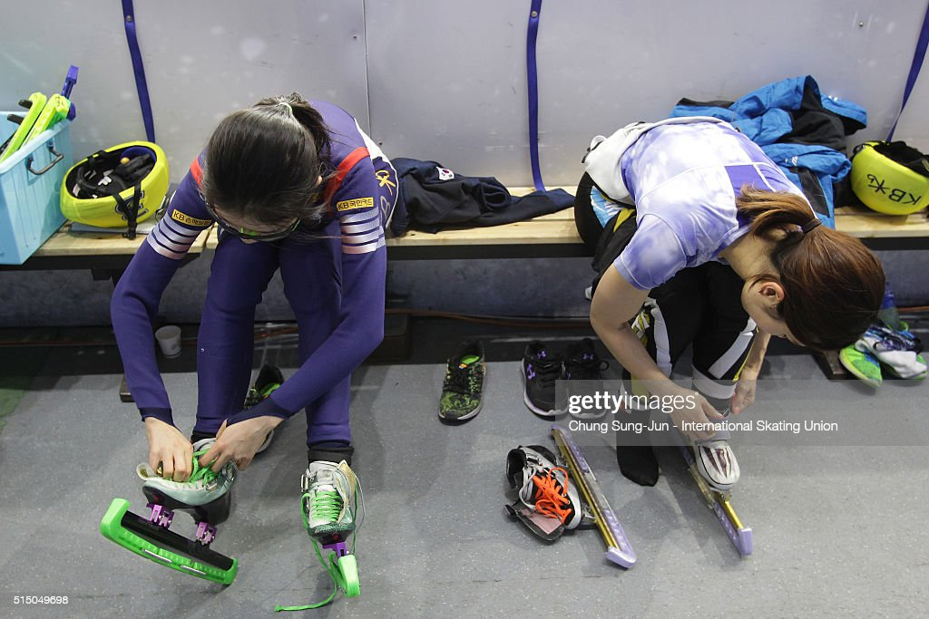 Skaters prepare before the race during the ISU World Short Track Speed Skating Championships 2016 at Mokdong Icerink on March 12, 2016 in Seoul, South Korea.
