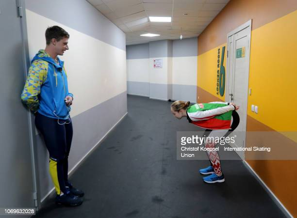 Skaters prepare during the ISU Short Track World Cup Day 1 at Kalyk Arena on December 8 2018 in Almaty Kazakhstan Photo by Christof Koepsel...