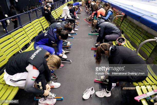 Skaters prepare for a warm-up prior to the ISU World Cup Short Track at the Nippon Gaishi Arena on December 01, 2019 in Nagoya, Japan.