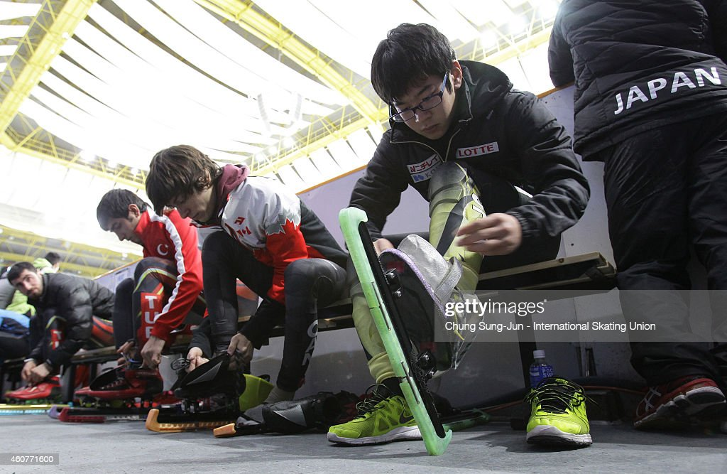 Skaters prepare for competition during the ISU World Cup Short Track Speed Skating 2014/15 - Seoul at Mokdong Ice Rink on December 21, 2014 in Seoul, South Korea.