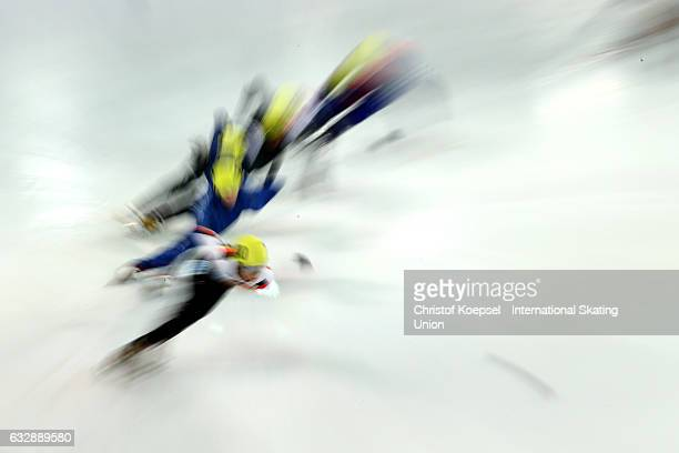 Skaters race during the World Junior Short Track Speed Skating Championships Day 1 at Olympiaworld on January 28 2017 in Innsbruck Austria