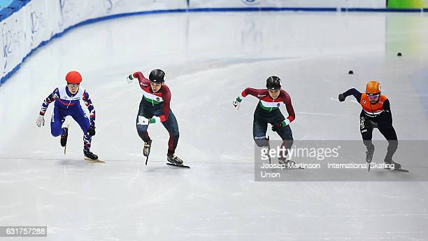 Skaters start in the Men's 1000m final during day 2 of the European Short Track Speed Skating Championships at Palavela Arena on January 15 2017 in...