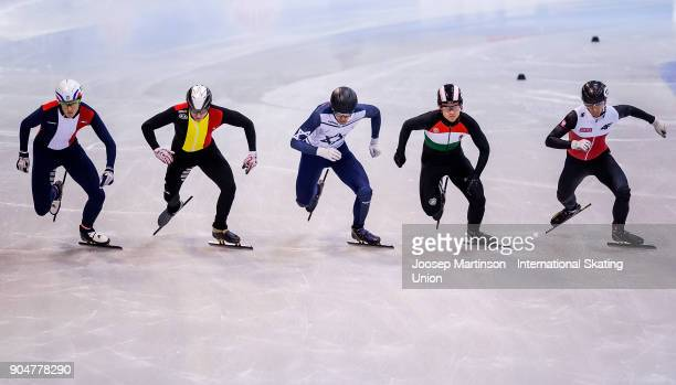 Skaters start in the Men's 1000m quarter finals during day three of the European Short Track Speed Skating Championships at EnergieVerbund Arena on...