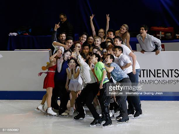 Skaters take a selfie after the Gala Exhibition on day four of the ISU Four Continents Figure Skating Championships 2016 at Taipei Arena on February...