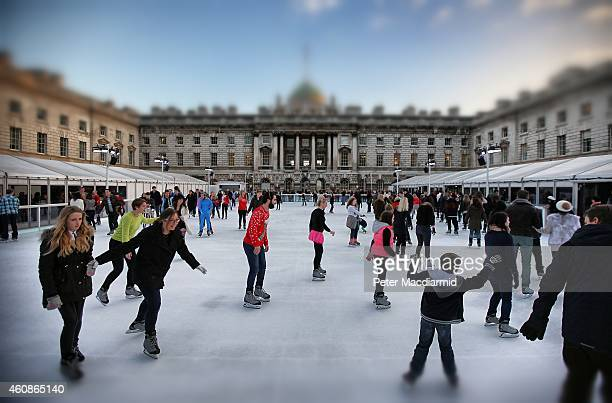 Skaters take to the ice at Somerset House on November 29 2014 in London England Currently 12 seasonal ice rinks function during winter in London