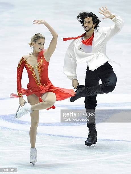 US skaters Tanith Belbin and Benjamin Agosto perform their free dance of ice dance event at the World Team Trophy figure skating in Tokyo on April 17...