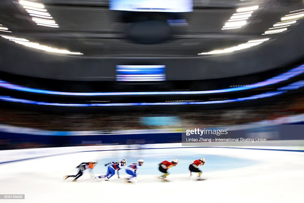 Skaters warming up during the on day two of the ISU World Cup Short Track speed skating event at the Oriental Sports Center on December 11, 2016 in Shanghai, China.