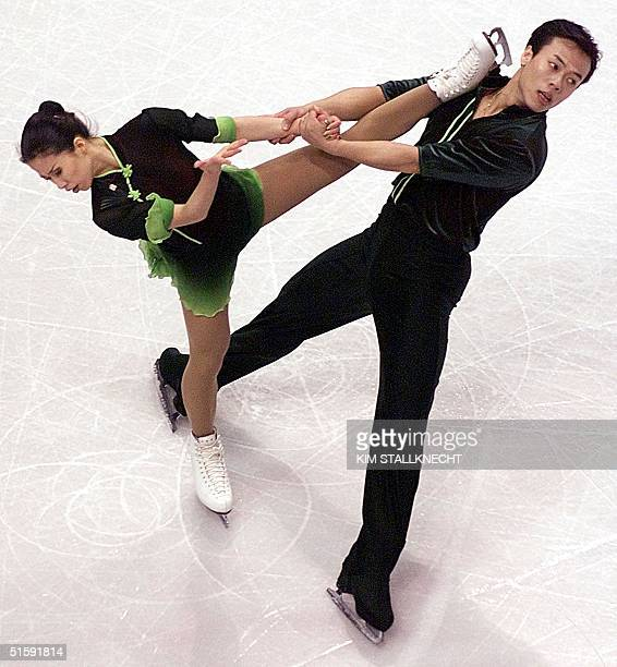 Skaters Xue Shen and partner Hongbo Zhao perform during their routine in the Pairs Free Skate program 21 March at the World Figure Skating...
