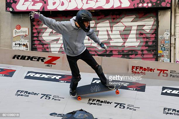 Skating competition on the rue Menilmontant Paris France