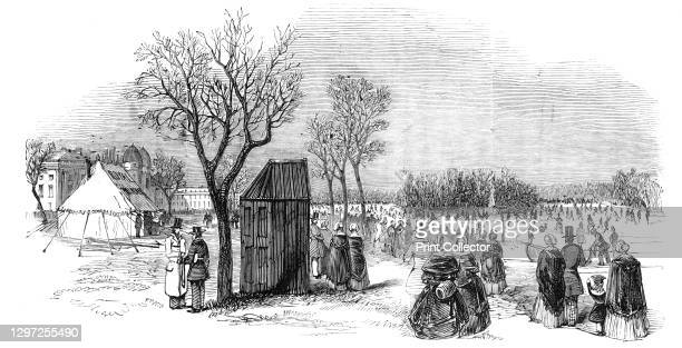 """Skating in the Regent's Park, 1844. Ice skaters in London. From """"Illustrated London News"""" Vol I. Artist Unknown."""