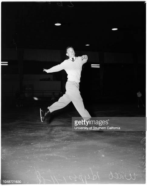 Skating Los Angeles Figure Skating Club competition 11 January 1958 Pam MilliganSarasue GleisSandy CarsonWanda GuntertRoy WaglinJacqueline...