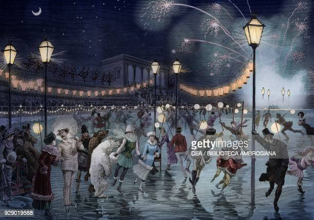 Skating night to raise money for the poor fireworks Arena Civica Milan Italy drawing by Antonio Bonamore engraving from L'Illustrazione Italiana No 1...