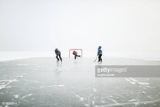 Skating on a lake in Canada