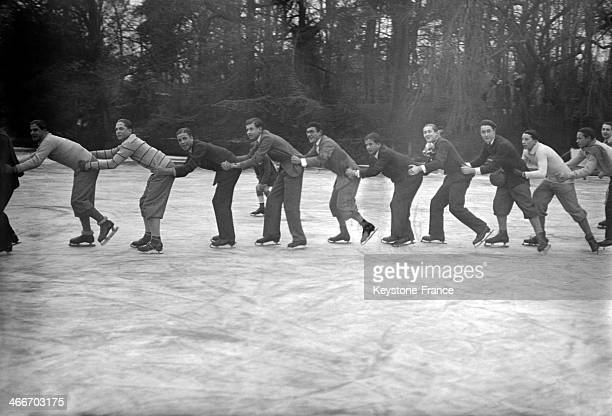 Skating on the lake of the Bois de Boulogne in January 1929 in Paris France