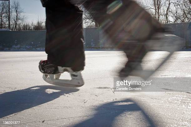 Skating outside on cold winter day