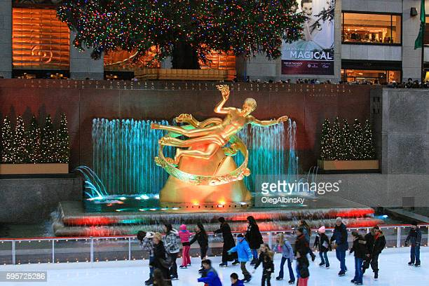 Skating Rink at Rockefeller Center, Christmas Time, New York City.