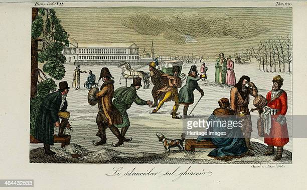 Skating rink. Illustration from Il costume antico e moderno o storia del governo? by Giulio Ferrario, 1831. From a private collection.