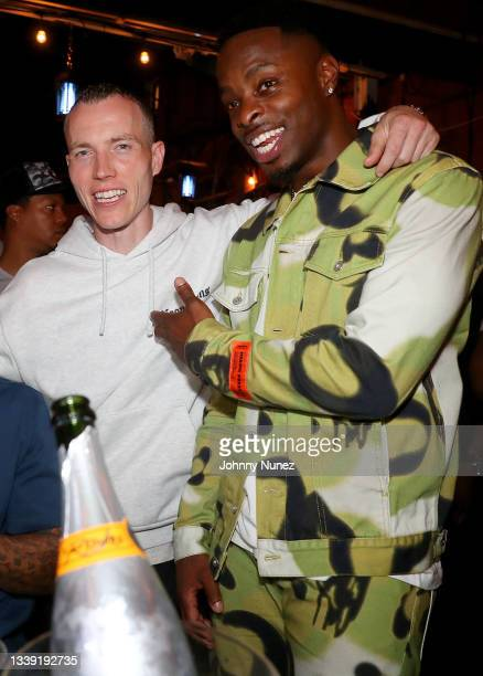 Skee and Johnell Young attend the Wu-Tang: An American Saga Season 2 Premiere Watch Party with DJ SKEE at Bleeker Trading on September 08, 2021 in...
