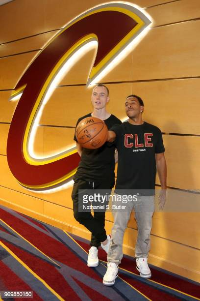 Skee and Ludacris pose for a photo before Game Four of the 2018 NBA Finals between the Golden State Warriors and the Cleveland Cavaliers on June 8,...