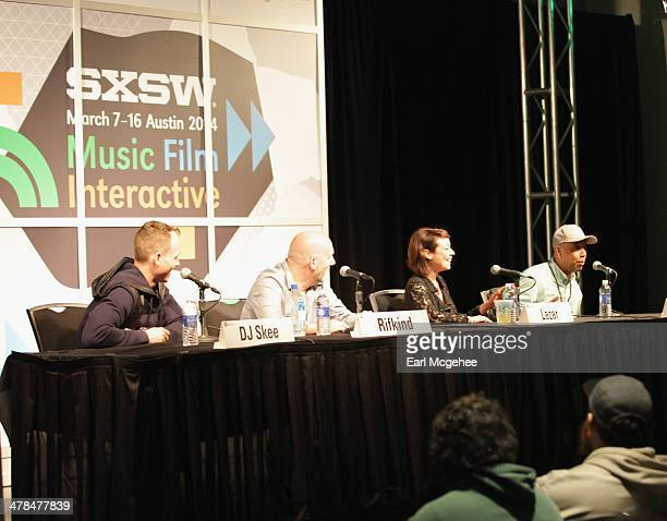 DJ Skee Steve Rifkind TV personality Shira Lazar and Russell Simmons speak onstage at 'YouTube New Breeding Ground for Music's Future' during the...