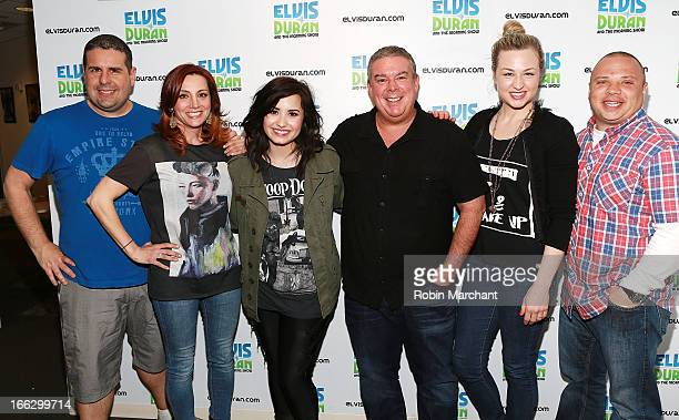 Skeery Jones Danielle Minero Demi Levato Elvis Duran Bethany Watson and Greg T visit at Z100 Studio on April 10 2013 in New York City