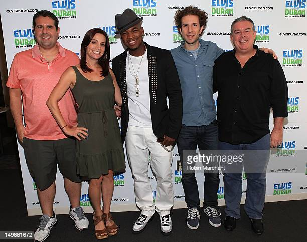 Skeery Jones Danielle Monaro NeYo TJ the DJ and Elvis Duran visit The Elvis Duran Z100 Morning Show at the Z100 Studio on August 2 2012 in New York...