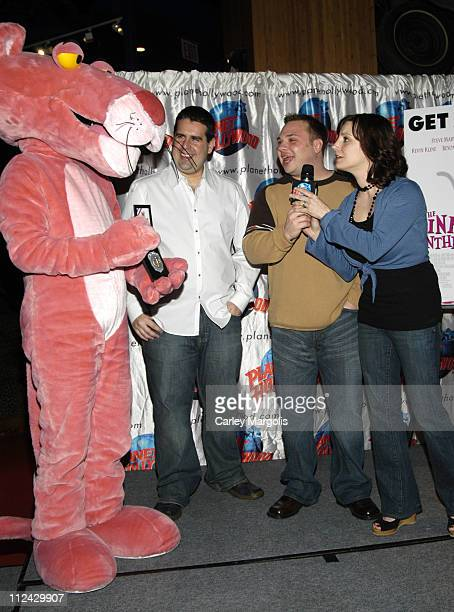 Skeery Jones Greg T and Danielle Monaro of Z100 with The Pink Panther