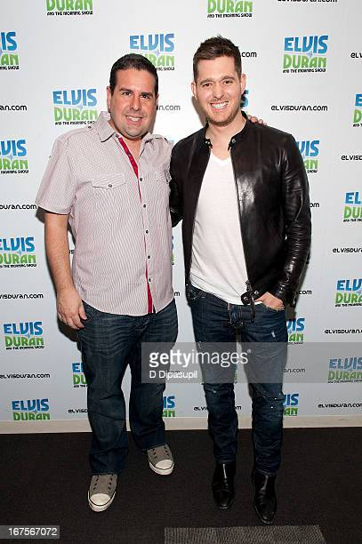 Skeery Jones poses with Michael Buble during his visit to the Elvis Duran Z100 Morning Show at Z100 Studio on April 26 2013 in New York City
