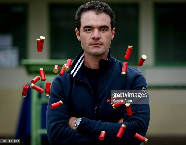 Skeet shooter Federico Gil of Argentina poses during an exclusive portrait session at Tiro Federal Argentino on July 01 2016 in Buenos Aires Argentina