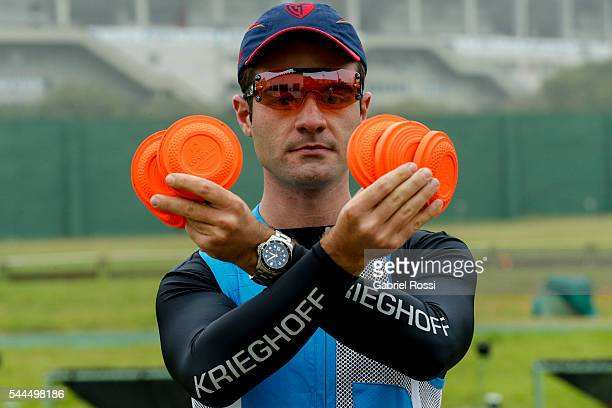 Skeet shooter Federico Gil of Argentina poses during an exclusive portrait session at Tiro Federal Argentino on July 01, 2016 in Buenos Aires,...