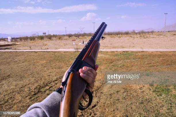 skeet shooting - shotgun stock pictures, royalty-free photos & images