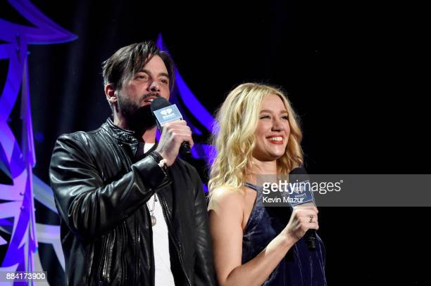 Skeet Ulrich and Yael Grobglas speak onstage during 1027 KIIS FM's Jingle Ball 2017 presented by Capital One at The Forum on December 1 2017 in...