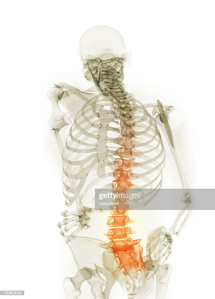 Dolor de espalda medio : Foto de stock