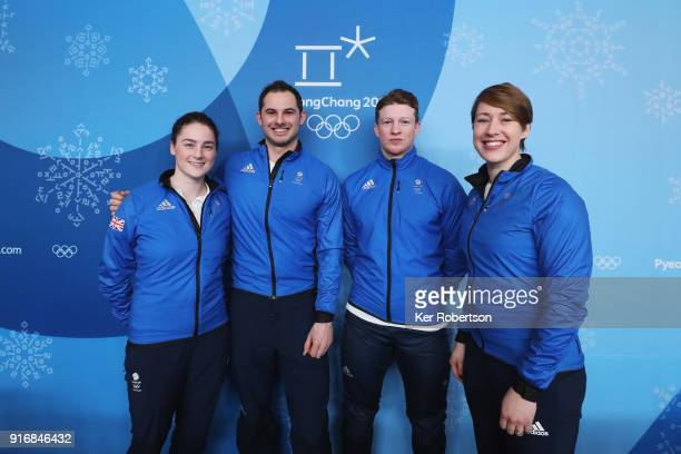 Skeleton athletes Laura Deas Dom Parsons Jerry Rice and Lizzy Yarnold of Great Britain attend a press conference at the Main Press Centre during the...